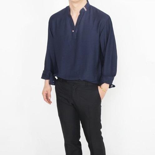 톰브라운 삼선 헨리넥 셔츠