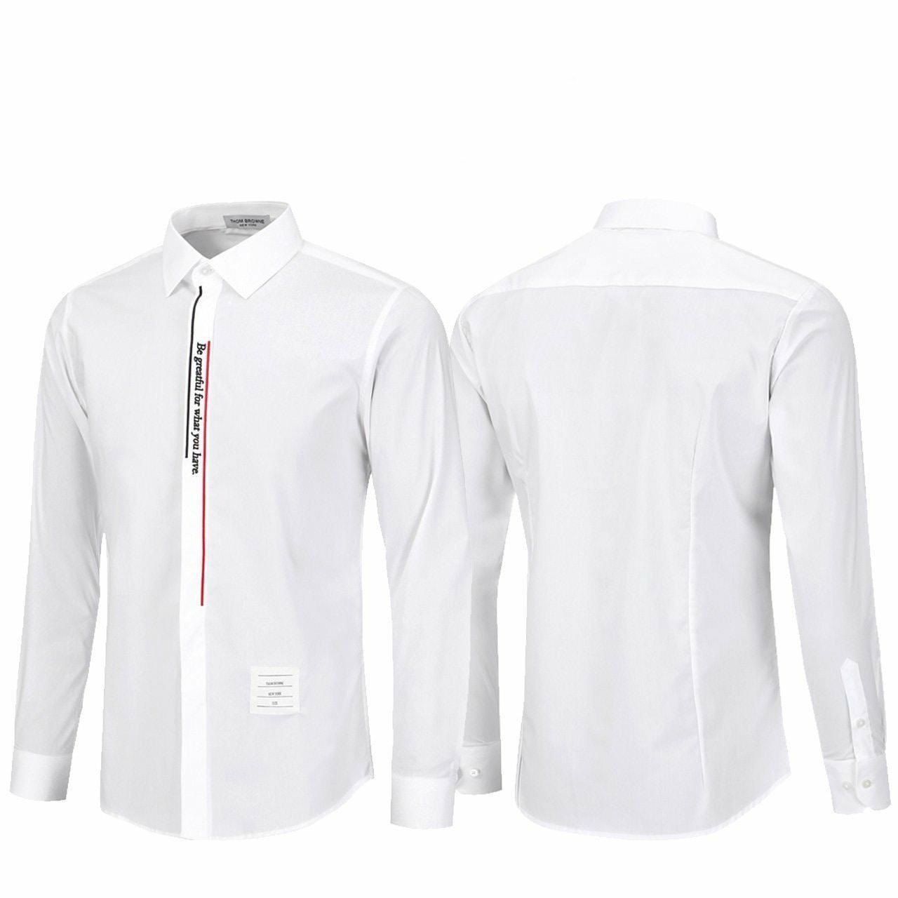 톰브라운 레터링 스판 셔츠