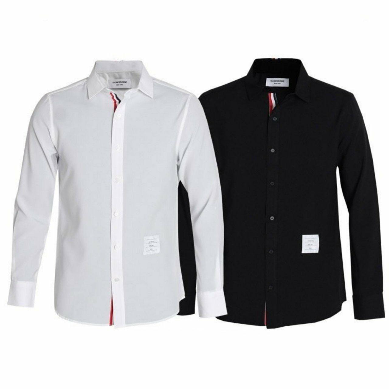 톰브라운 베이직 히든 삼선 셔츠