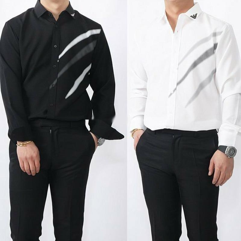 알마니 사선 포인트 로고 셔츠