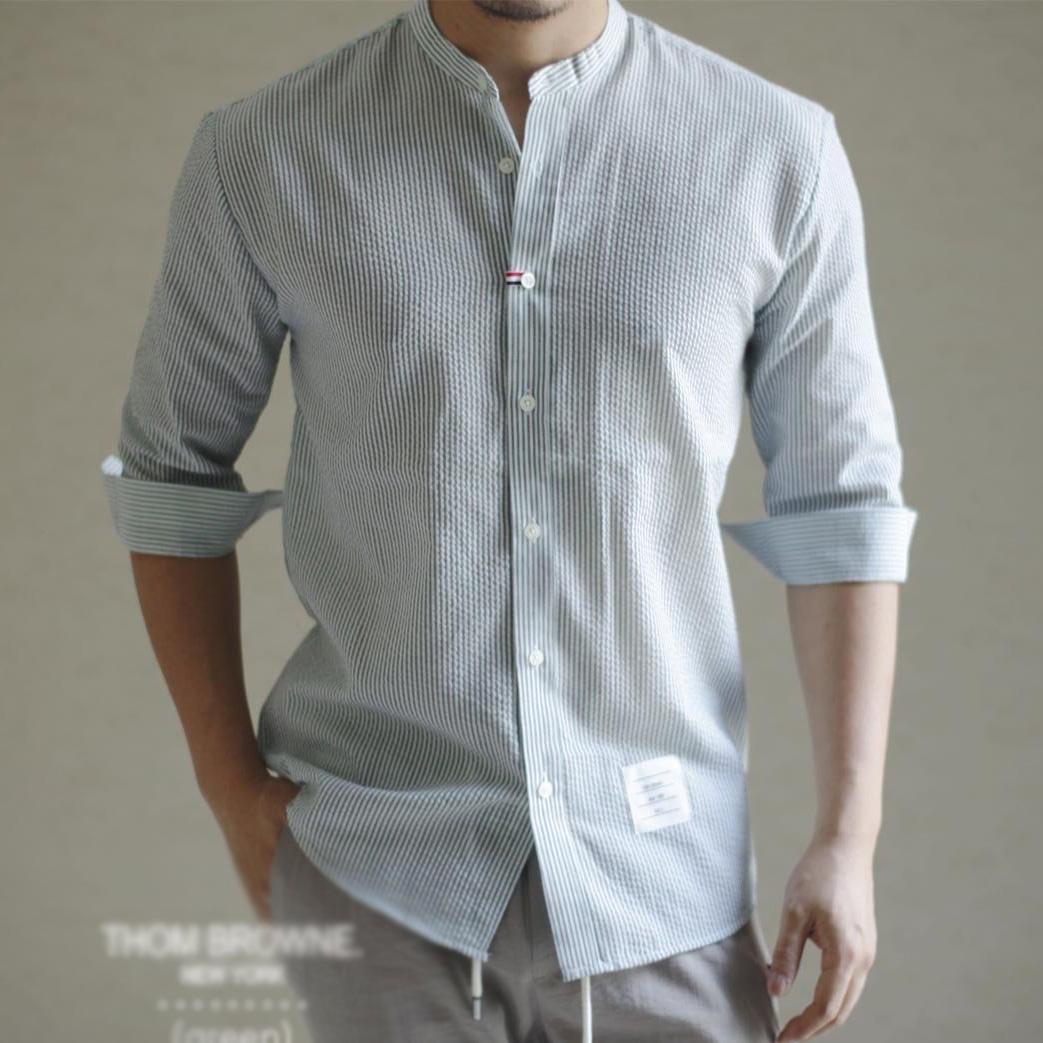 톰브라운 시어서커 칠부 셔츠