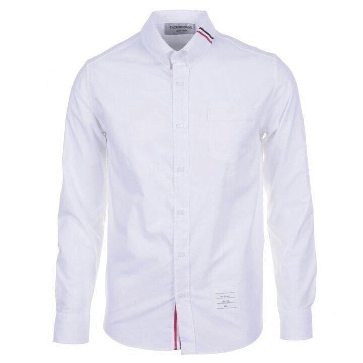 톰브라운 목 삼선 셔츠