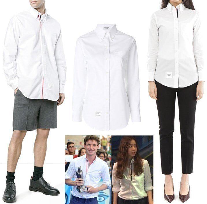 톰브라운 삼선 솔리드 셔츠(남녀커플)